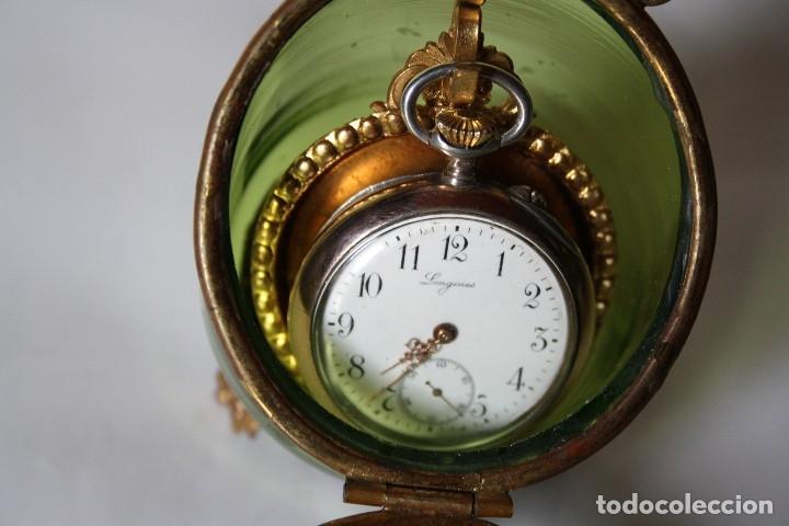 Relojes de bolsillo: RELOJ DE MONJA DE PLATA ,FUNCIONA LONGINES CON SU JOYERO DE CRISTAL BISELADO - Foto 12 - 173386878