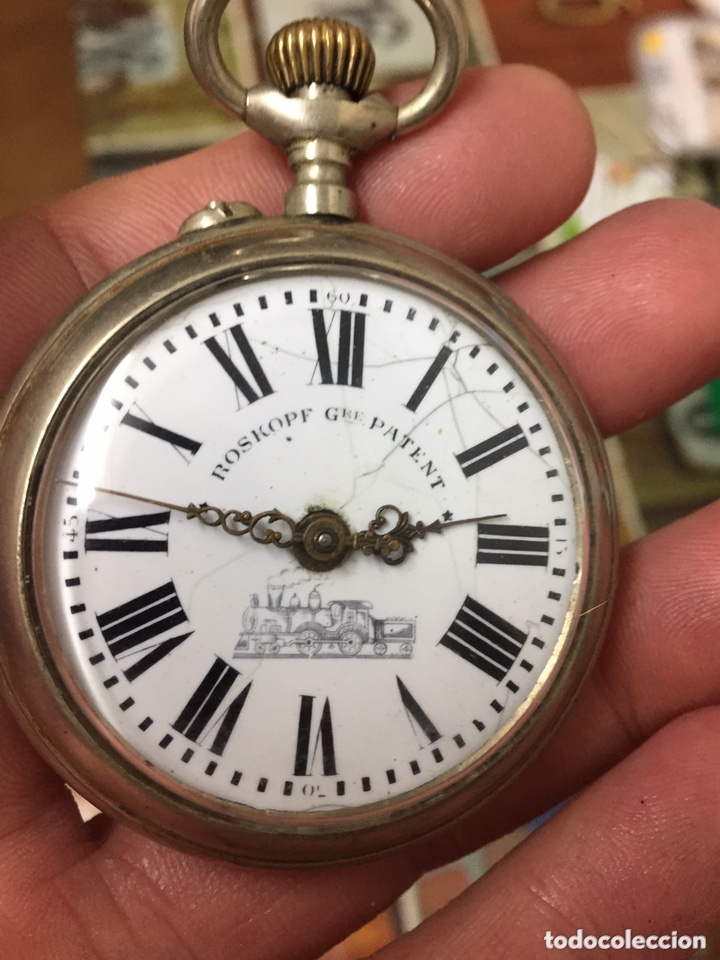 RELOJ DE BOLSILLO PLATA ROSKOPF A REPARAR (Relojes - Bolsillo Carga Manual)