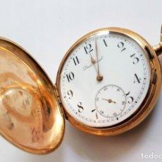 Relojes de bolsillo: HERMOSO Y ORGINAL RELOJ DE BOLSILLO DE ORO AÑO 1890 LOUIS GRISEL ORO 14 K, 77 GRAMOS SUIZA. Lote 174045735