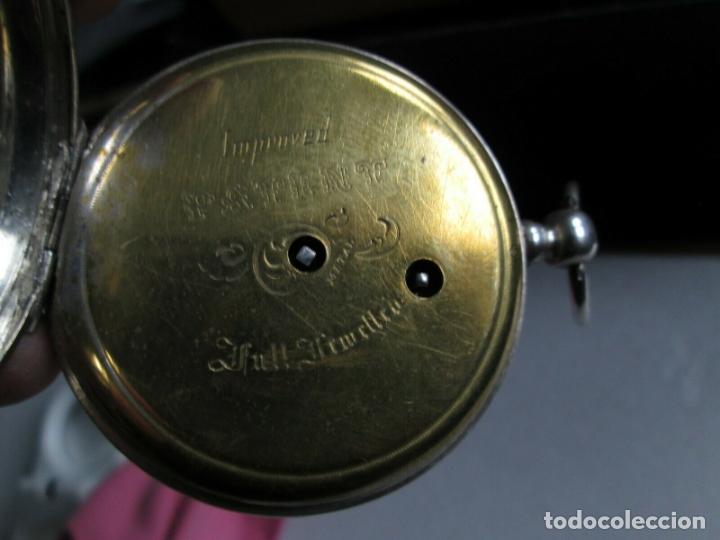 Relojes de bolsillo: PRECIOSO RELOJ DE BOLSILLO CON MAQUINARIA CINCELADA COMPLETO DE PLATA LABRADA, DATA 1870, FUNCIONA - Foto 7 - 174142914