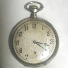 Relojes de bolsillo: RELOJ BOLSILLO ART DECÓ 3 TAPAS DE PLATA, FUNCIONA. MED. 5 CM. Lote 174304933