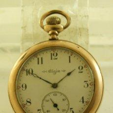 Relojes de bolsillo: ELGIN BOLSILLO A ROSCA CHAPADO EN ORO. Lote 174378468