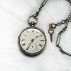 Relojes de bolsillo: SEMICATALINA DE PLATA PERFECTO ESTADO. Lote 174489349