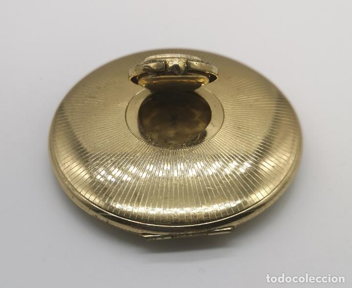 Relojes de bolsillo: Polvera antigua art decó con reloj de cuerda Ancre 15 rubies con acabado en oro de 18k y marquesitas - Foto 3 - 174532047