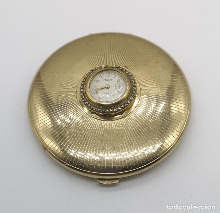 Relojes de bolsillo: Polvera antigua art decó con reloj de cuerda Ancre 15 rubies con acabado en oro de 18k y marquesitas - Foto 4 - 174532047