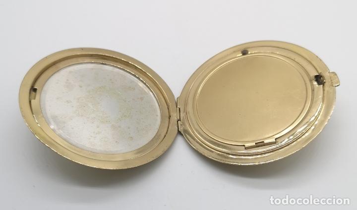 Relojes de bolsillo: Polvera antigua art decó con reloj de cuerda Ancre 15 rubies con acabado en oro de 18k y marquesitas - Foto 6 - 174532047