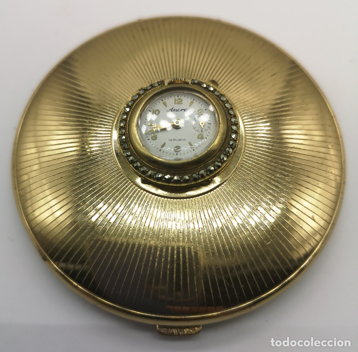 Relojes de bolsillo: Polvera antigua art decó con reloj de cuerda Ancre 15 rubies con acabado en oro de 18k y marquesitas - Foto 7 - 174532047