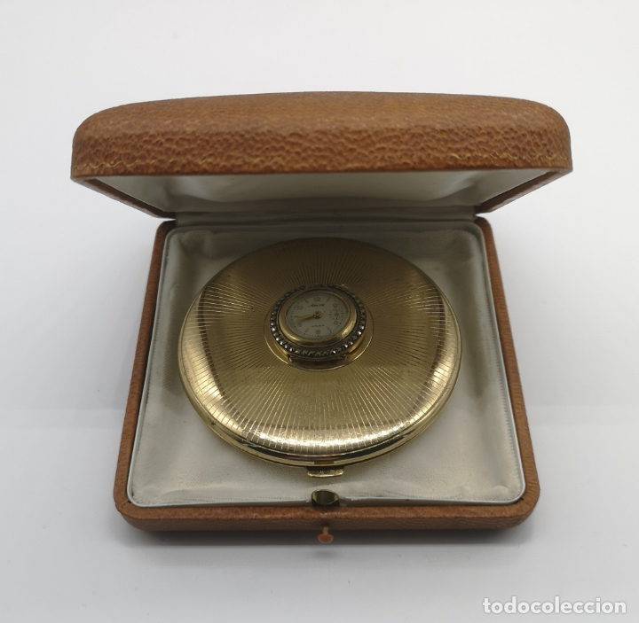 Relojes de bolsillo: Polvera antigua art decó con reloj de cuerda Ancre 15 rubies con acabado en oro de 18k y marquesitas - Foto 8 - 174532047