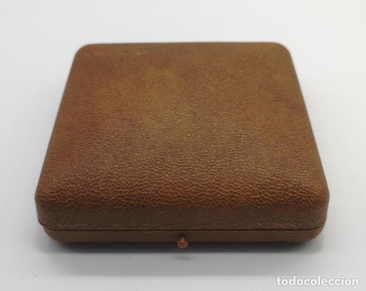 Relojes de bolsillo: Polvera antigua art decó con reloj de cuerda Ancre 15 rubies con acabado en oro de 18k y marquesitas - Foto 9 - 174532047