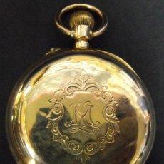 Relojes de bolsillo: RELOJ BOLSILLO REMONTOIR DE PURO ORO 14 KILATES GRABADO INCREIBLE BONITO !!!SIGLO XIX, 73 GRAMOS ORO. Lote 174591312