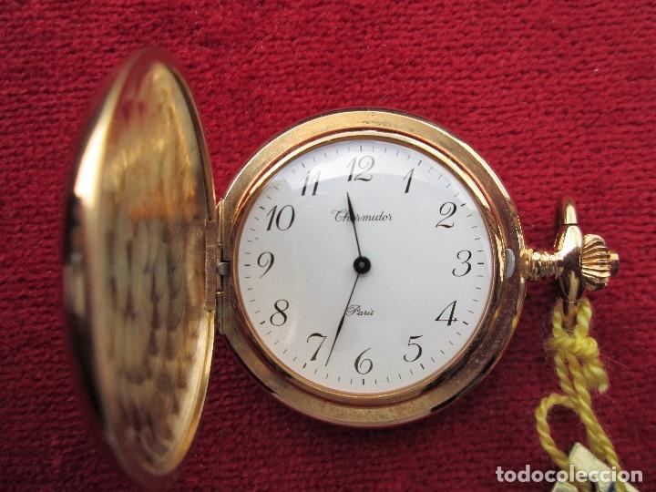 RELOJ DE BOLSILLO THERMIDOR DORADO CON TAPA, DE CUERDA MANUAL - SIN USO, FUNCIONANDO - IMPECABLE, CR (Relojes - Bolsillo Carga Manual)
