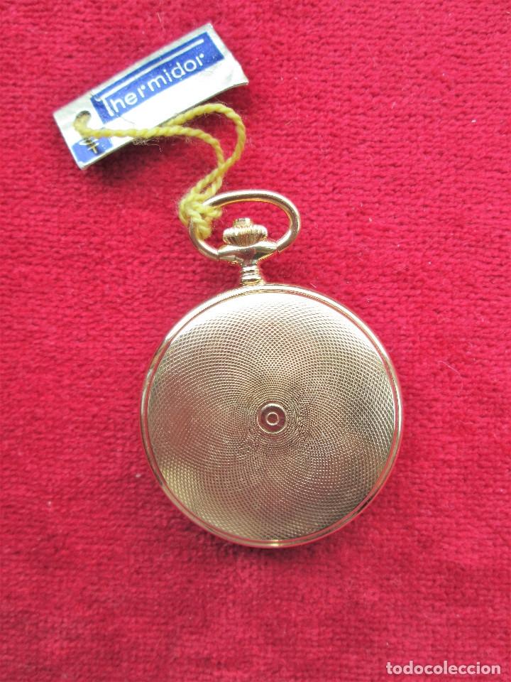 Relojes de bolsillo: RELOJ DE BOLSILLO THERMIDOR DORADO CON TAPA, DE CUERDA MANUAL - SIN USO, FUNCIONANDO - IMPECABLE, CR - Foto 5 - 174999717