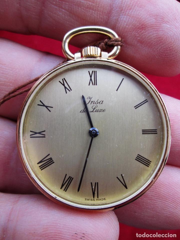 RELOJ DE BOLSILLO INSA DORADO, DE CUERDA MANUAL - SIN USO, FUNCIONANDO - IMPECABLE, CRISTAL SIN RALL (Relojes - Bolsillo Carga Manual)