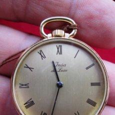 Relojes de bolsillo: RELOJ DE BOLSILLO INSA DORADO, DE CUERDA MANUAL - SIN USO, FUNCIONANDO - IMPECABLE, CRISTAL SIN RALL. Lote 174999730
