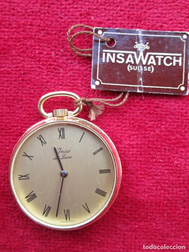 Relojes de bolsillo: RELOJ DE BOLSILLO INSA DORADO, DE CUERDA MANUAL - SIN USO, FUNCIONANDO - IMPECABLE, CRISTAL SIN RALL - Foto 2 - 174999730