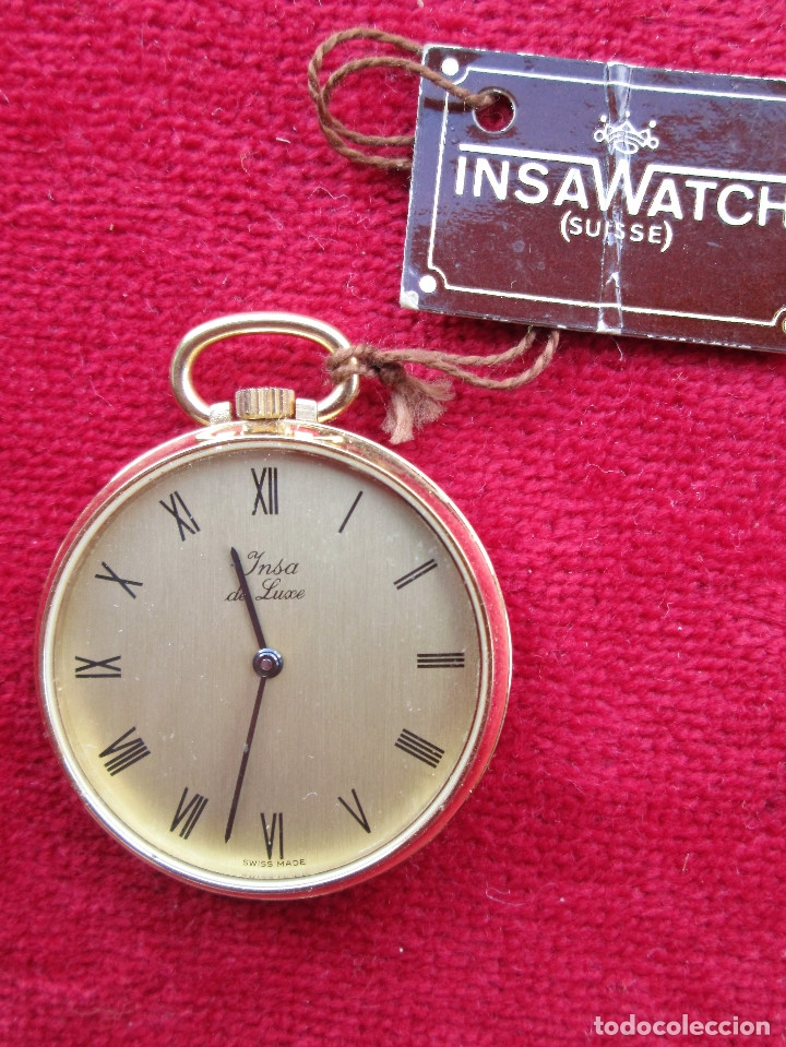 Relojes de bolsillo: RELOJ DE BOLSILLO INSA DORADO, DE CUERDA MANUAL - SIN USO, FUNCIONANDO - IMPECABLE, CRISTAL SIN RALL - Foto 3 - 174999730