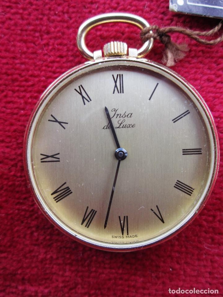 Relojes de bolsillo: RELOJ DE BOLSILLO INSA DORADO, DE CUERDA MANUAL - SIN USO, FUNCIONANDO - IMPECABLE, CRISTAL SIN RALL - Foto 4 - 174999730