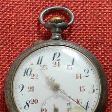 Relojes de bolsillo: RELOJ DE BOLSILLO PAVONADO - ACERO - PRINCIPIOS XX - ESFERA PORCELANA - FUNCIONANDO. Lote 175255942