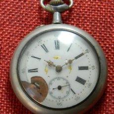 Relojes de bolsillo: RELOJ DE BOLSILLO DE PLATA - ESFERA PORCELANA - PRINCIPIOS XX - CONTRASTE - NO FUNCIONA. Lote 175257059