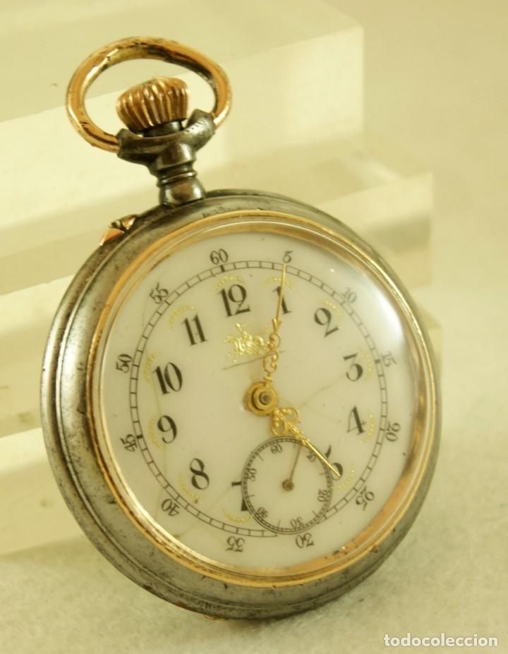 RELOJ DE HIERRO ANTIGUO ANCORA FUNCIONANDO (Relojes - Bolsillo Carga Manual)