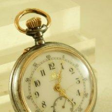 Relojes de bolsillo: RELOJ DE HIERRO ANTIGUO ANCORA FUNCIONANDO. Lote 175425802