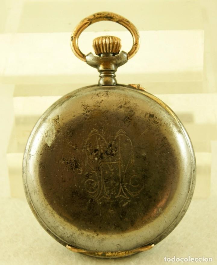 Relojes de bolsillo: RELOJ DE HIERRO ANTIGUO ANCORA FUNCIONANDO - Foto 5 - 175425802