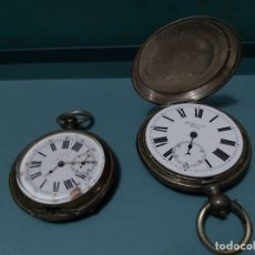 Relojes de bolsillo: LOTE DE 2 RELOJES DE BOLSILLO DE PLATA ANTIGUOS PARA PIEZAS (MUCHOS DEFECTOS). Lote 175525252