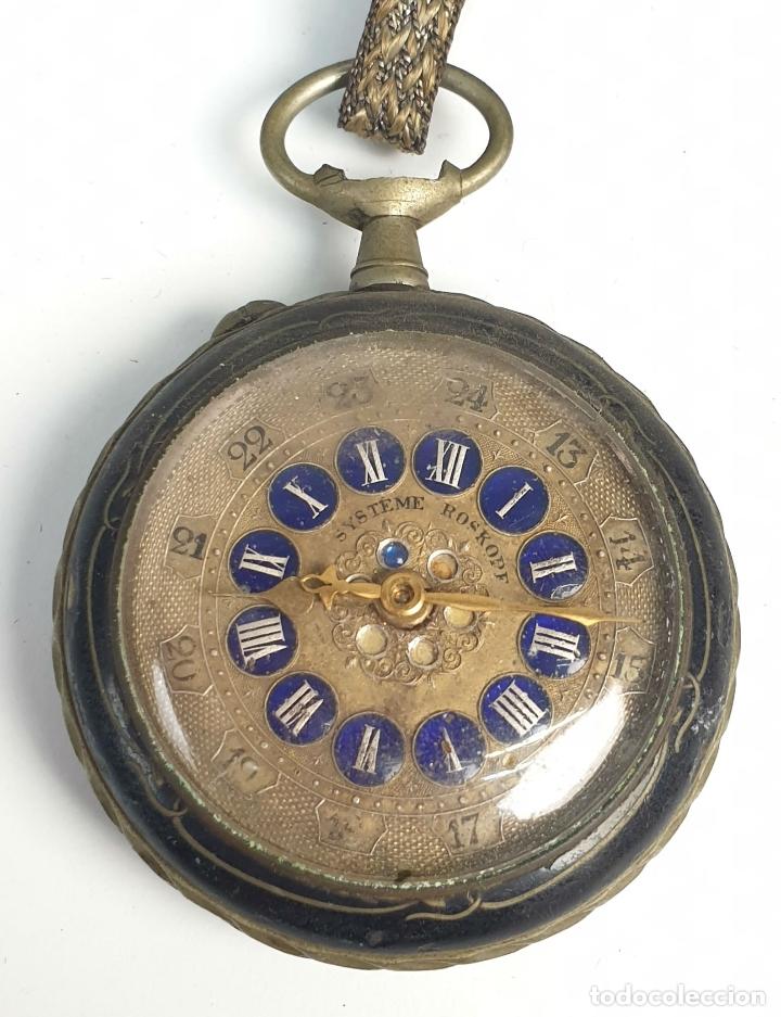 RELOJ DE BOLSILLO. TIPO LEPINE. ESTILO ROSKOPF. CAJA DE METAL. SIGLO XX. (Relojes - Bolsillo Carga Manual)