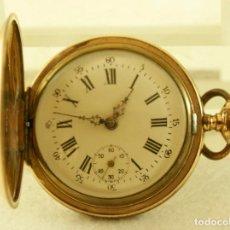 Relojes de bolsillo: ANTIGUO RELOJ DE BOLSILLO 3 TAPAS CHAPADO EN ORO MECANICO INVICTA. Lote 175745037