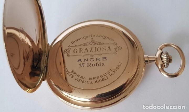 RELOJ BOLSILLO GRAZIOSA SUIZA PURO ORO 14 KILATES GRABADO INCREIBLE BONITO !!SIGLO XIX 88 GRAMOS (Relojes - Bolsillo Carga Manual)