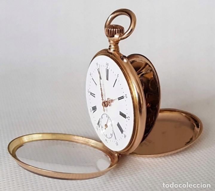 RELOJ BOLSILLO DE ORO JANUS 14 KILATES SUIZA INCREIBLE BONITO!SIGLO XIX ORGINAL CON ETUI 77 GRAMOS (Relojes - Bolsillo Carga Manual)