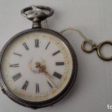 Relojes de bolsillo: RELOJ DE BOLSILLO DE PLATA, CYLINDRE 8 RUBIS, CUERDA CON LLAVE, DIAMETRO 4,5 CM. Lote 175899622