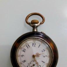 Relojes de bolsillo: RELOJ DE BOLSILLO PLATA Y CAREY CIRCA 1900 AVANCE RETARD. Lote 176012147