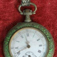 Relojes de bolsillo: RELOJ DE BOLSILLO. CAJA DE METAL ESMALTADO. TIPO LEPINE. SIGLO XIX-XX.. Lote 176054927