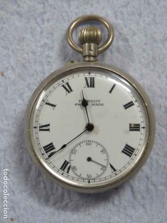 Relojes de bolsillo: BONITO RELOJ DE BOLSILLO SUIZO DE LA MARCA POMROY COMPLETO DE PLATA LABRADA, FUNCIONANDO, DATA 1900 - Foto 2 - 176166760