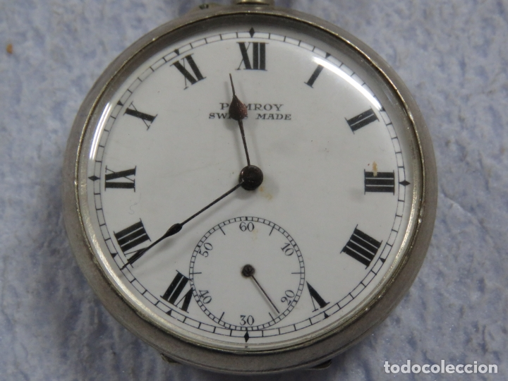 Relojes de bolsillo: BONITO RELOJ DE BOLSILLO SUIZO DE LA MARCA POMROY COMPLETO DE PLATA LABRADA, FUNCIONANDO, DATA 1900 - Foto 3 - 176166760