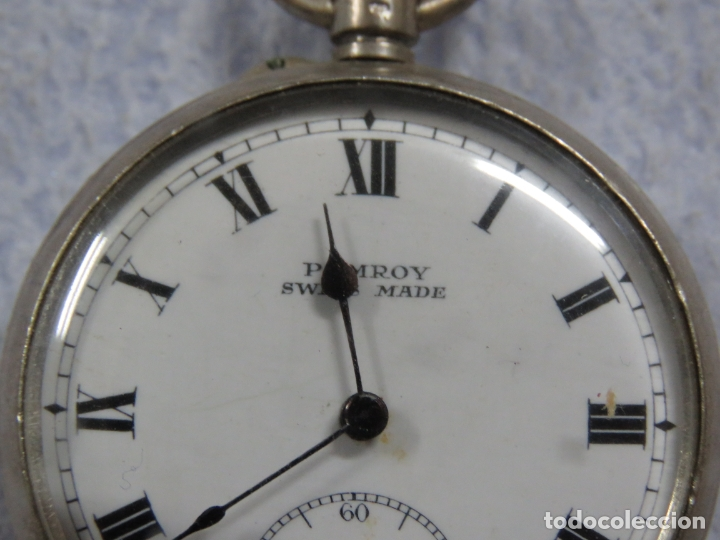 Relojes de bolsillo: BONITO RELOJ DE BOLSILLO SUIZO DE LA MARCA POMROY COMPLETO DE PLATA LABRADA, FUNCIONANDO, DATA 1900 - Foto 4 - 176166760