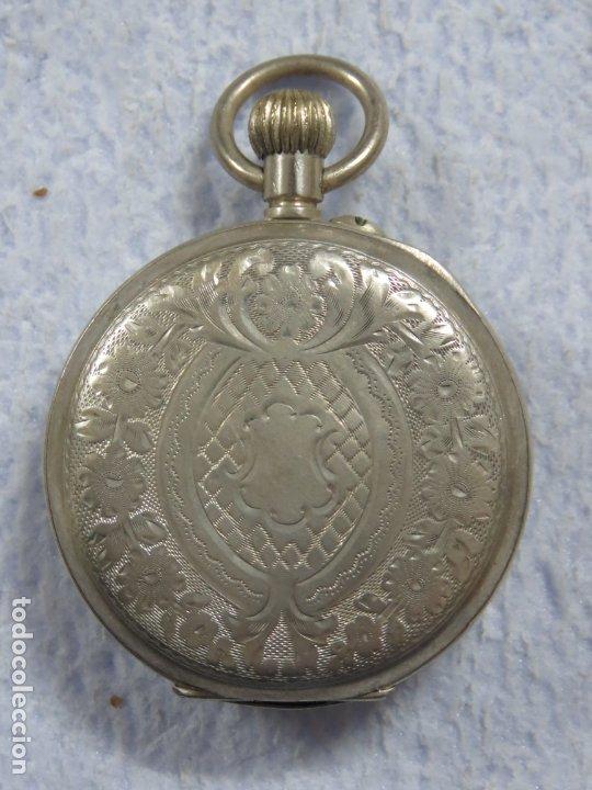 Relojes de bolsillo: BONITO RELOJ DE BOLSILLO SUIZO DE LA MARCA POMROY COMPLETO DE PLATA LABRADA, FUNCIONANDO, DATA 1900 - Foto 7 - 176166760