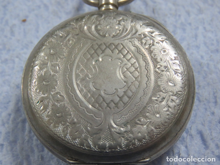 Relojes de bolsillo: BONITO RELOJ DE BOLSILLO SUIZO DE LA MARCA POMROY COMPLETO DE PLATA LABRADA, FUNCIONANDO, DATA 1900 - Foto 8 - 176166760