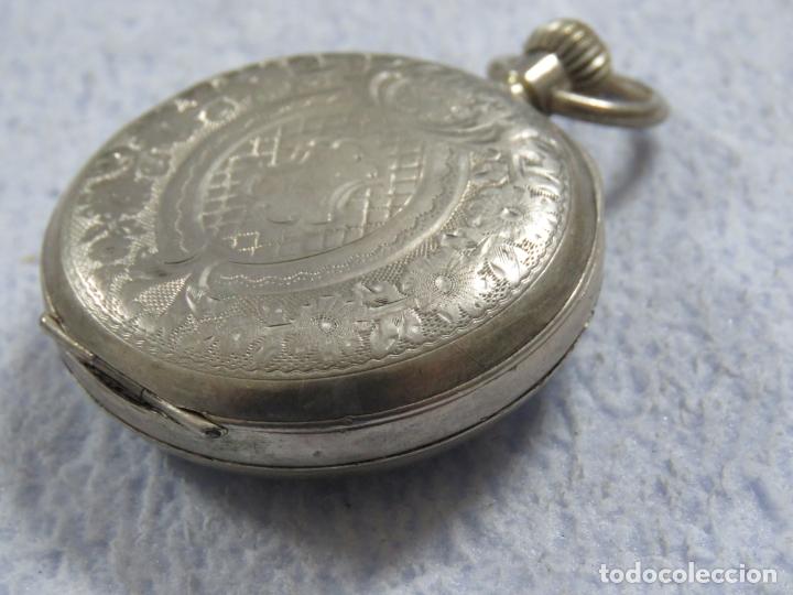 Relojes de bolsillo: BONITO RELOJ DE BOLSILLO SUIZO DE LA MARCA POMROY COMPLETO DE PLATA LABRADA, FUNCIONANDO, DATA 1900 - Foto 9 - 176166760