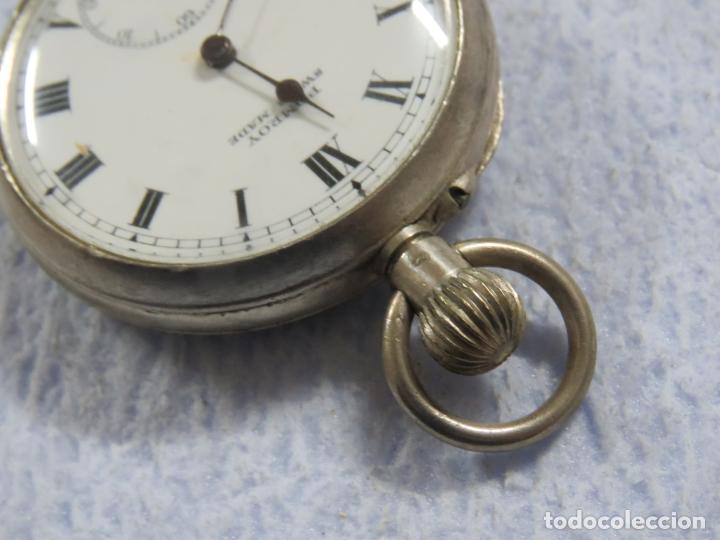 Relojes de bolsillo: BONITO RELOJ DE BOLSILLO SUIZO DE LA MARCA POMROY COMPLETO DE PLATA LABRADA, FUNCIONANDO, DATA 1900 - Foto 10 - 176166760