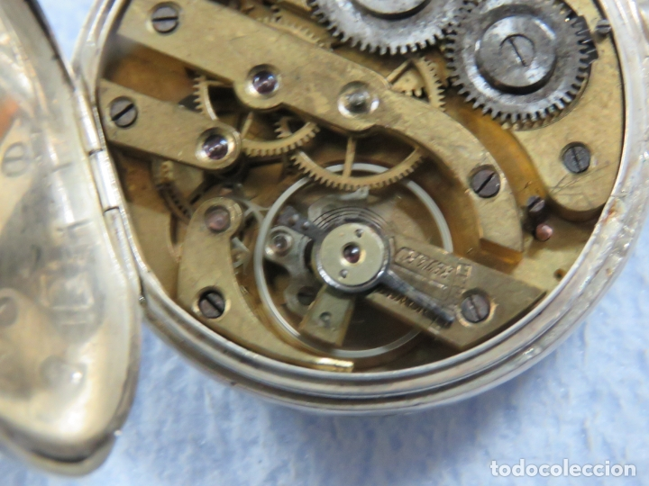 Relojes de bolsillo: BONITO RELOJ DE BOLSILLO SUIZO DE LA MARCA POMROY COMPLETO DE PLATA LABRADA, FUNCIONANDO, DATA 1900 - Foto 12 - 176166760