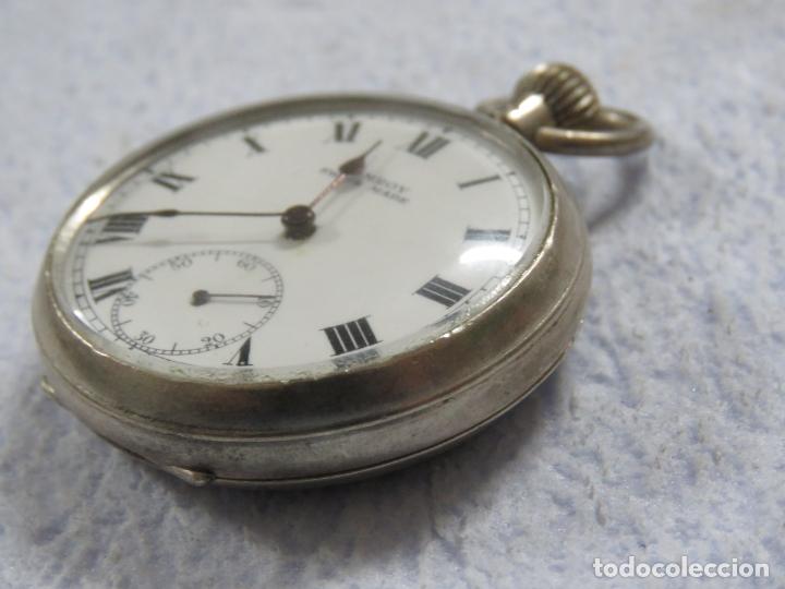 Relojes de bolsillo: BONITO RELOJ DE BOLSILLO SUIZO DE LA MARCA POMROY COMPLETO DE PLATA LABRADA, FUNCIONANDO, DATA 1900 - Foto 13 - 176166760