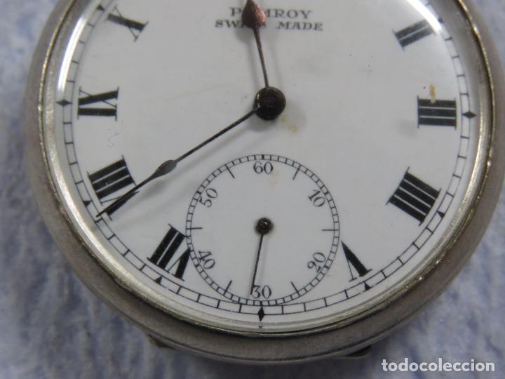 Relojes de bolsillo: BONITO RELOJ DE BOLSILLO SUIZO DE LA MARCA POMROY COMPLETO DE PLATA LABRADA, FUNCIONANDO, DATA 1900 - Foto 16 - 176166760