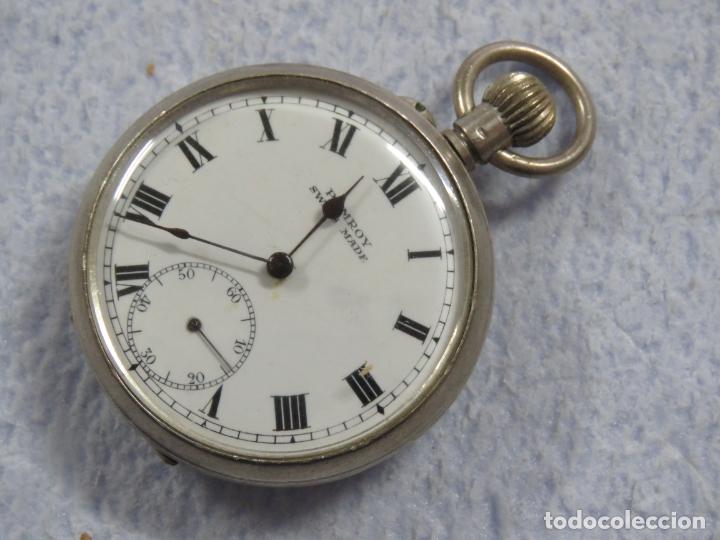 BONITO RELOJ DE BOLSILLO SUIZO DE LA MARCA POMROY COMPLETO DE PLATA LABRADA, FUNCIONANDO, DATA 1900 (Relojes - Bolsillo Carga Manual)