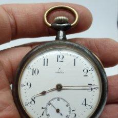 Relojes de bolsillo: MUY BONITO RELOJ DE BOLSILLO OMEGA CON CAJA DE ACERO PAVONADA. Lote 176185973