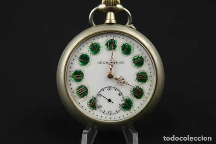 Relojes de bolsillo: Reloj de bolsillo Regulateur de grandes dimensiones para Ferroviarios Francia - Foto 3 - 176203977