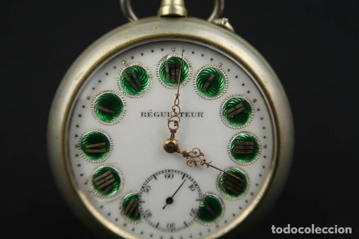 Relojes de bolsillo: Reloj de bolsillo Regulateur de grandes dimensiones para Ferroviarios Francia - Foto 5 - 176203977