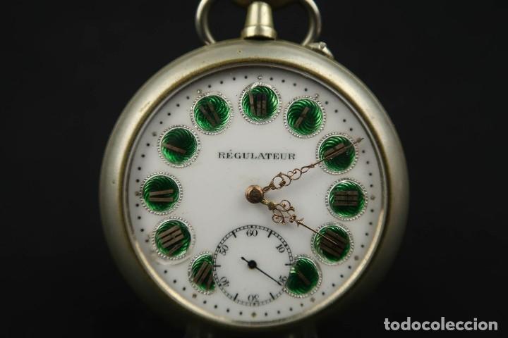 Relojes de bolsillo: Reloj de bolsillo Regulateur de grandes dimensiones para Ferroviarios Francia - Foto 6 - 176203977