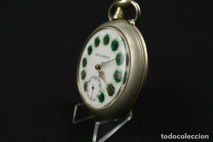 Relojes de bolsillo: Reloj de bolsillo Regulateur de grandes dimensiones para Ferroviarios Francia - Foto 7 - 176203977